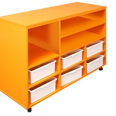 Mobile Storage Cabinet in orange with storage tubs