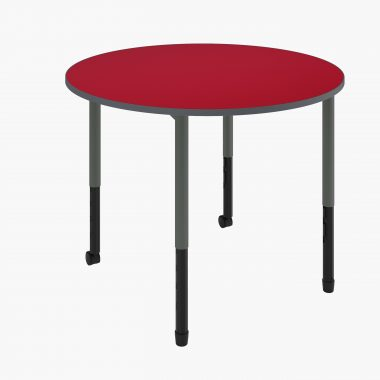 Twist'n'Lock® Height Adjustable Round Table with red tabletop