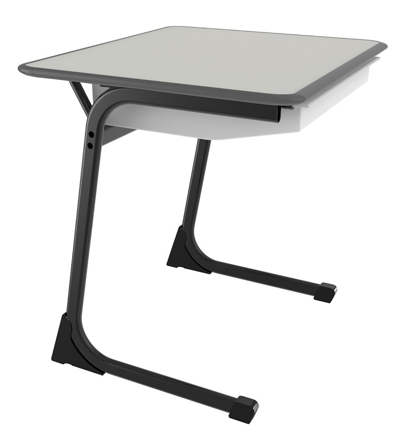 C Leg Desk Fog Grey Drawers