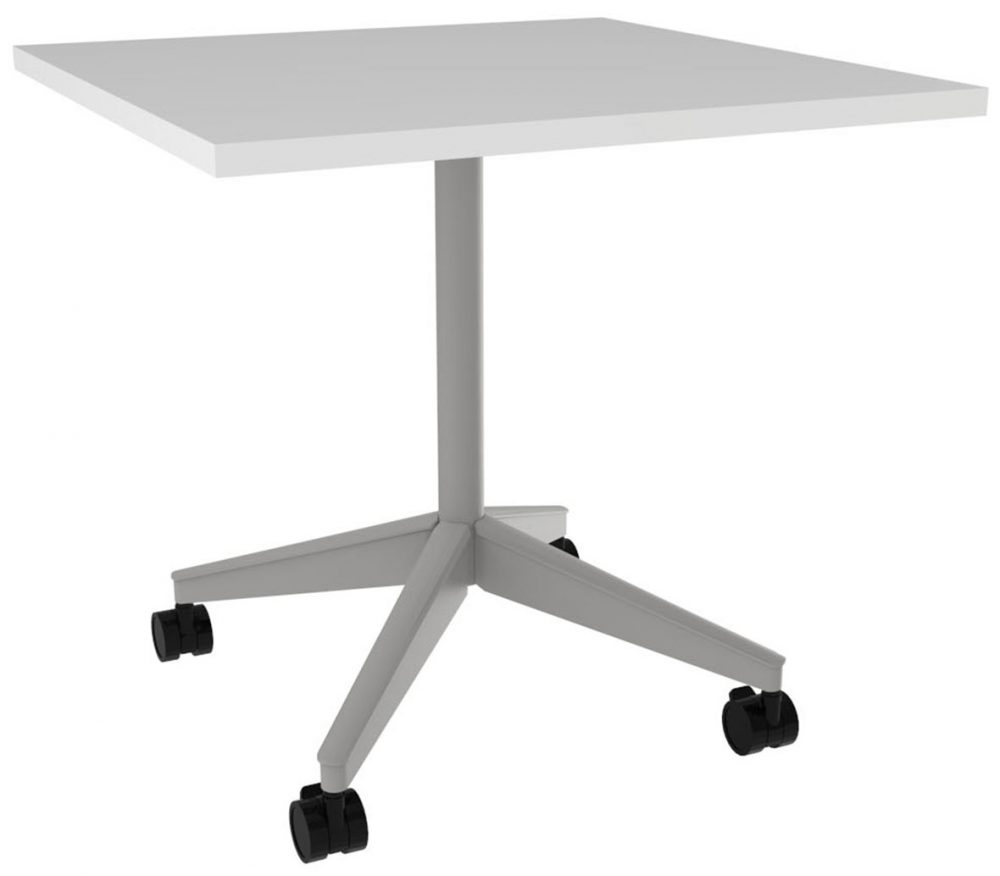 Pirouette XBase Square White Table
