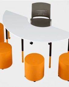 Semi TwistnLock Height Adjustable Table with Strive chair and foot stools